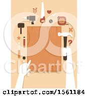Poster, Art Print Of Hands Holding A Hammer And Wood Board For Woodworking