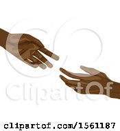 African American Hands Reaching For Each Other