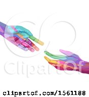 Colorful Hands Reaching For Each Other