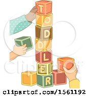 Clipart Of Hands Stacking Up A Cube Tower Forming A Toddler Word Royalty Free Vector Illustration