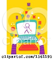 Clipart Of Hands Holding A Graphic Pen With A Laptop And Creating An Animated Movie Royalty Free Vector Illustration