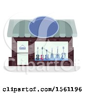 Clipart Of A Guitar Store Front Royalty Free Vector Illustration by BNP Design Studio