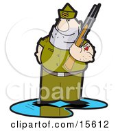 Tough Drill Sergeant In Uniform Holding A Gun And Sporting Mom Heart Tattoo On His Arm Clipart Illustration