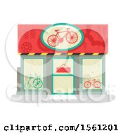 Clipart Of A Bike Shop Store Front Royalty Free Vector Illustration by BNP Design Studio