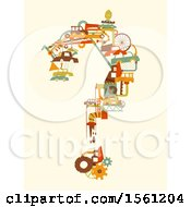Clipart Of A Question Mark Formed Of Junkjard Items Royalty Free Vector Illustration by BNP Design Studio