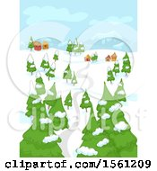 Clipart Of A Road Leading To A Village In A Winter Landscape Royalty Free Vector Illustration