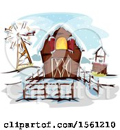Clipart Of A Winter Barn Well And Windmill Royalty Free Vector Illustration