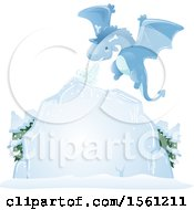 Clipart Of A Dragon Creating An Ice Board Royalty Free Vector Illustration