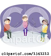 Clipart Of A Group Of Teenagers Ice Fishing In A Tent Royalty Free Vector Illustration