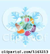 Clipart Of A Winter Farmers Market With Root Crops On Blue Royalty Free Vector Illustration