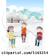 Clipart Of A Group Of Teenagers Ice Fishing Royalty Free Vector Illustration
