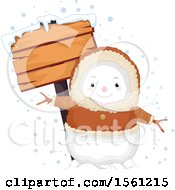 Clipart Of A Bundled Eskimo Snowman With A Blank Wood Sign Royalty Free Vector Illustration