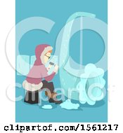 Clipart Of A Sculptor Creating An Ice Wind Instrument On Blue Royalty Free Vector Illustration