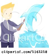 Clipart Of A Blond Male Sculptor Creating A Dolphin Royalty Free Vector Illustration