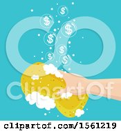 Poster, Art Print Of Hand Cleaning With A Soapy Sponge And Dollar Bubbles