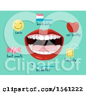 Clipart Of A Mouth With Dental Icons Royalty Free Vector Illustration
