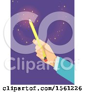 Clipart Of A Hand Holding Up A Pencil With Magic Flares Royalty Free Vector Illustration