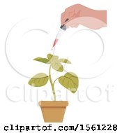 Clipart Of A Hand Holding A Dropper And Expelling Liquid For A Potted Plant Royalty Free Vector Illustration