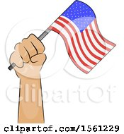 Poster, Art Print Of Hand Holding Up An American Flag