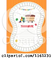 Train Carrying A Cake With A Lighted Candle Pennant Flags Railroad And Space For Text