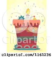 Poster, Art Print Of Junkyard Themed Cake With Bulb And Cogs With Confetti