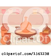 Clipart Of A Potters Wheel And Pots Made Inside A Workshop Royalty Free Vector Illustration