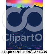 Clipart Of An Umbrella And Colorful Cloud With Water Drops Royalty Free Vector Illustration