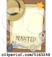 Clipart Of A Blank Wanted Poster With A Sheriff Hat Badge Handcuffs And Pistol Royalty Free Vector Illustration
