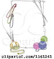 Clipart Of A Border Of Knitting Tools Royalty Free Vector Illustration