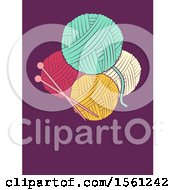 Clipart Of Knitting Needles And Yarn On Purple Royalty Free Vector Illustration