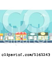 Clipart Of A City Street With Store Fronts Royalty Free Vector Illustration by BNP Design Studio