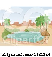 Clipart Of A Desert Oasis With A Pond Royalty Free Vector Illustration by BNP Design Studio