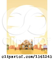 Clipart Of A Large Sunset Over A Western Town Royalty Free Vector Illustration