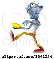 Clipart Of A 3d Blue Zombie Holding A Banana On A White Background Royalty Free Illustration