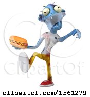 Clipart Of A 3d Blue Zombie Holding A Hot Dog On A White Background Royalty Free Illustration