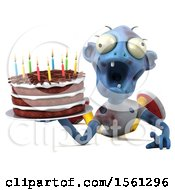 Clipart Of A 3d Blue Zombie Holding A Birthday Cake On A White Background Royalty Free Vector Illustration