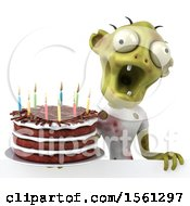 Clipart Of A 3d Zombie Holding A Birthday Cake On A White Background Royalty Free Vector Illustration