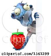 Clipart Of A 3d Blue Zombie Holding A Strawberry On A White Background Royalty Free Illustration