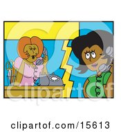 Two Chatty Women Gossiping On The Phone While They Should Be Working Clipart Illustration