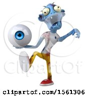 Clipart Of A 3d Blue Zombie Holding An Eyeball On A White Background Royalty Free Illustration