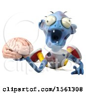 Clipart Of A 3d Blue Zombie Holding A Brain On A White Background Royalty Free Illustration