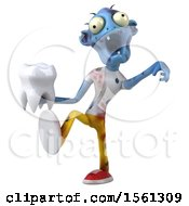 Clipart Of A 3d Blue Zombie Holding A Tooth On A White Background Royalty Free Illustration