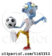 Clipart Of A 3d Blue Zombie Holding A Soccer Ball On A White Background Royalty Free Illustration