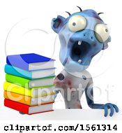 Clipart Of A 3d Blue Zombie Holding Books On A White Background Royalty Free Illustration by Julos