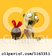Clipart Of A 3d Zombie Holding A Chocolate Egg On A Yellow Background Royalty Free Illustration by Julos
