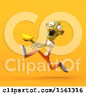 Clipart Of A 3d Zombie Holding A Banana On A Yellow Background Royalty Free Illustration by Julos