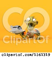 Clipart Of A 3d Zombie Holding A Plane On A Yellow Background Royalty Free Illustration