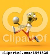 3d Zombie Holding A Golf Ball On A Yellow Background