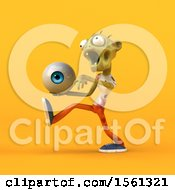 Clipart Of A 3d Zombie Holding An Eyeball On A Yellow Background Royalty Free Illustration by Julos