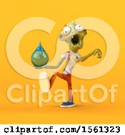 Clipart Of A 3d Zombie Holding A Water Drop On A Yellow Background Royalty Free Illustration by Julos